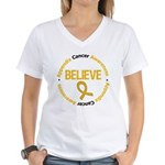 Appendix Cancer Believe Women's V-Neck T-Shirt