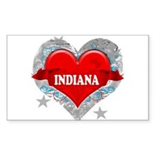 My Heart Indiana Vector Style Rectangle Decal