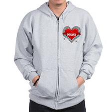 My Heart Indiana Vector Style Zip Hoodie