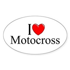 """I Love (Heart) Motocross"" Oval Decal"