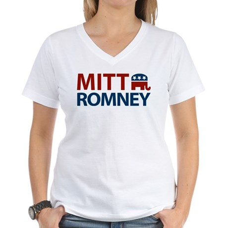 Mitt Romney GOP Women's V-Neck T-Shirt