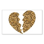 Broken Leopard Heart Rectangle Sticker