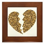 Broken Leopard Heart Framed Tile