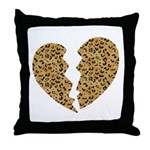Broken Leopard Heart Throw Pillow