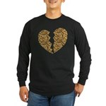 Broken Leopard Heart Long Sleeve Dark T-Shirt