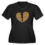 Broken Leopard Heart Women's Plus Size V-Neck Dark
