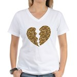 Broken Leopard Heart Women's V-Neck T-Shirt