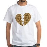 Broken Leopard Heart White T-Shirt