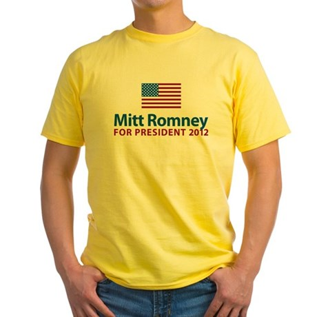 Mitt Romney American Flag Yellow T-Shirt