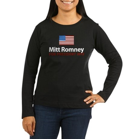 Mitt Romney American Flag Women's Long Sleeve Dark