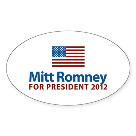 Mitt Romney American Flag Oval Sticker