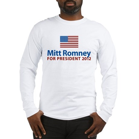 Mitt Romney American Flag Long Sleeve T-Shirt