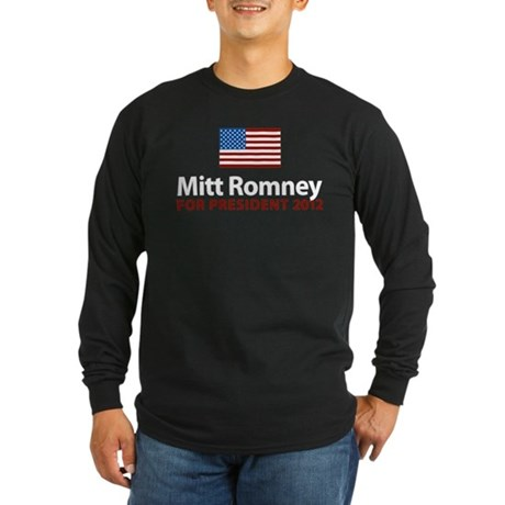 Mitt Romney American Flag Long Sleeve Dark T-Shirt