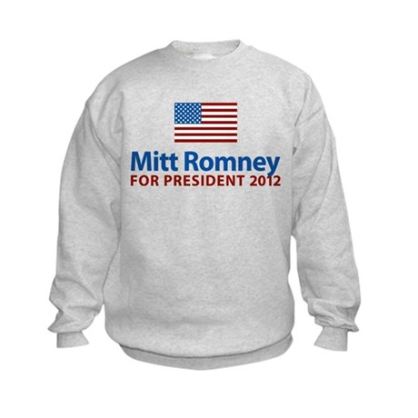 Mitt Romney American Flag Kids Sweatshirt