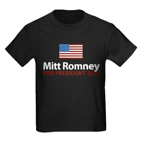 Mitt Romney American Flag Kids Dark T-Shirt