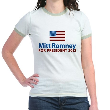 Mitt Romney American Flag Jr. Ringer T-Shirt