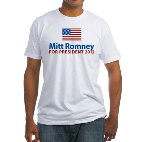 Mitt Romney American Flag Fitted T-Shirt