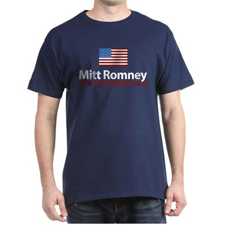Mitt Romney American Flag Dark T-Shirt
