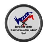Democrat Jackass Large Wall Clock