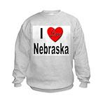 I Love Nebraska (Front) Kids Sweatshirt
