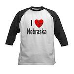 I Love Nebraska Kids Baseball Jersey