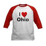 I Love Ohio (Front) Kids Baseball Jersey
