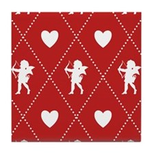 Valentine Diamond Pattern Cupid Tile Coaster
