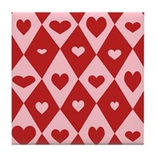 Retro Valentine Heart Pattern Tile Coaster