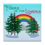 Forks Is For Lovers Tile Coaster