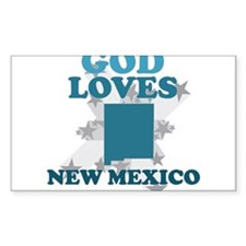 God Loves New Mexico Rectangle Decal