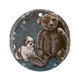 Shih Tzu Puppy Ornament (Round)