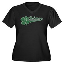 Belmar NJ Shamrock Women's Plus Size V-Neck Dark T