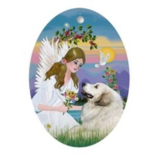 Angel and Great Pyrenees Oval Ornament