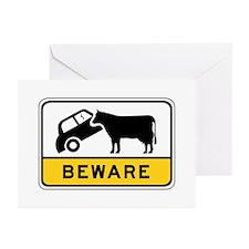 Beware of Cows, Australia Greeting Cards (Pk of 10