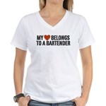 My Heart Belongs to a Bartender Women's V-Neck T-S