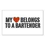 My Heart Belongs to a Bartender Sticker (Rectangle