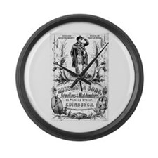 Retro bagpipes Large Wall Clock