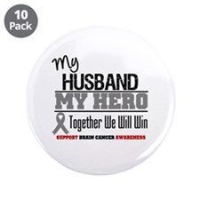 "BrainCancerHero Husband 3.5"" Button (10 pack)"