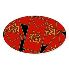 Red Envelopes Oval Decal