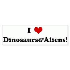 I Love Dinosaurs&Aliens! Bumper Sticker (10 pk)