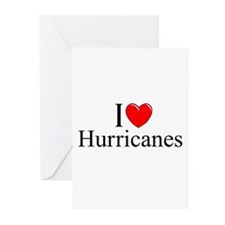 """""""I Love (Heart) Hurricanes"""" Greeting Cards (Pk of"""