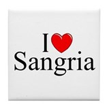 """I Love (Heart) Sangria"" Tile Coaster"