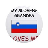 My Slovene Grandpa Loves Me Ornament (Round)