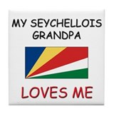My Seychellois Grandpa Loves Me Tile Coaster