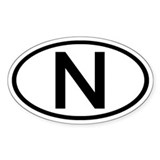 Norway - N - Oval Oval Bumper Stickers