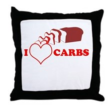 I Heart Carbs Throw Pillow
