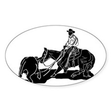 Cutting Horse Dance Oval Decal