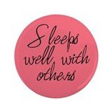 "3.5"" Sleeps Well With Others Button (Pink)"