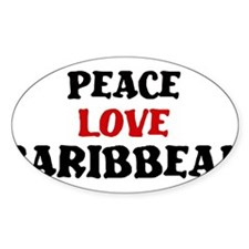 Peace Love Caribbean Oval Sticker (50 pk)