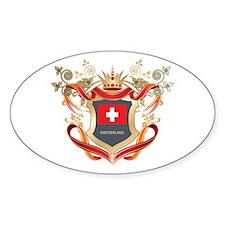 Swiss flag emblem Oval Sticker (50 pk)